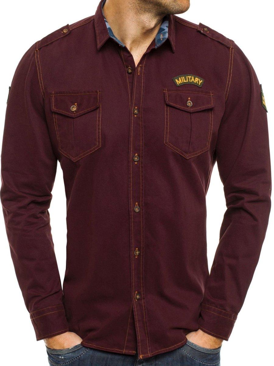 e5b5c32ba0a ... North 2504 Vínová Pánská Košile ...