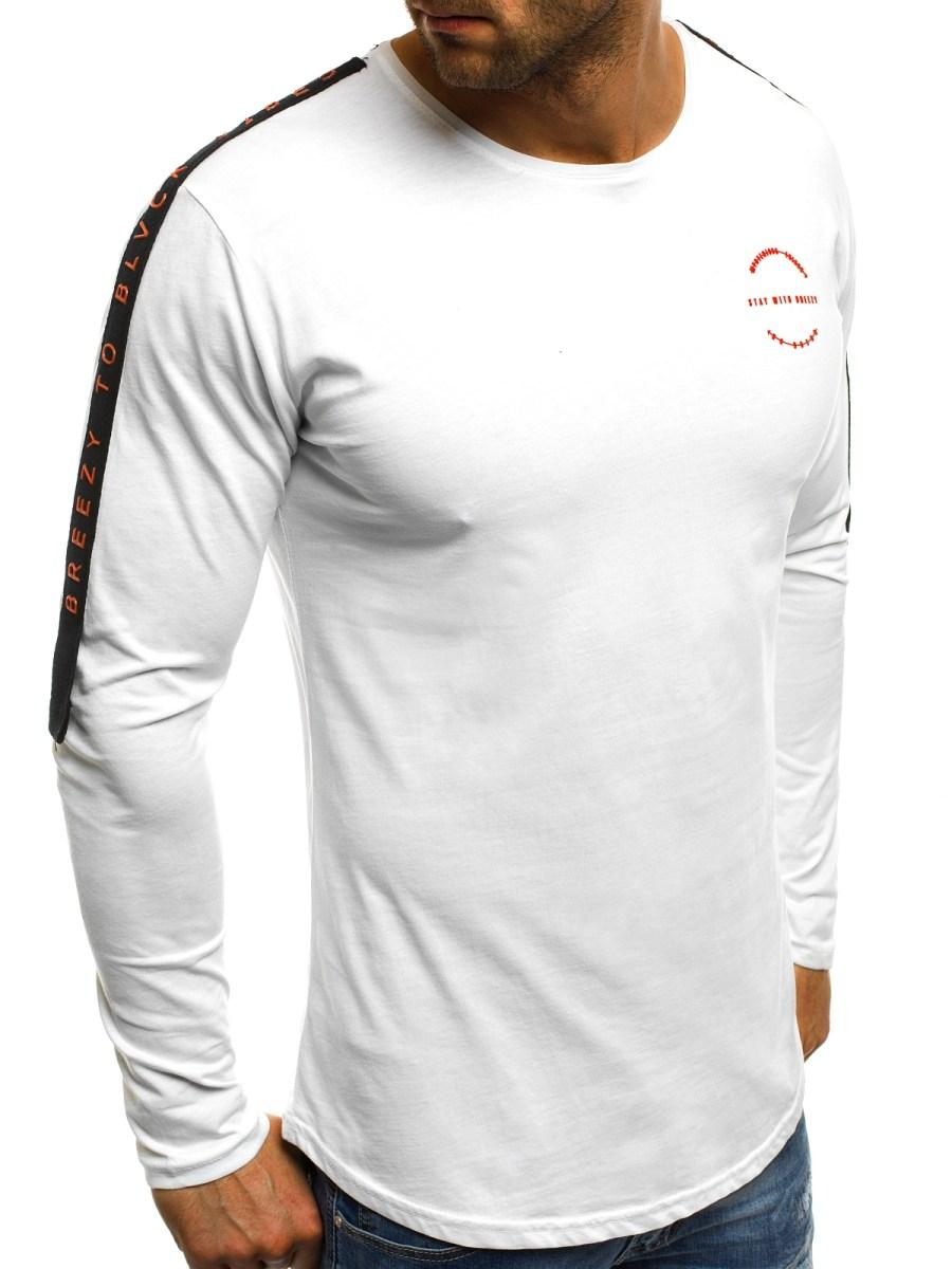 0f2fc6e47 OZONEE B/181386 Pánské Tričko S Dlouhým Rukávem Bílé | OZONEE.CZ