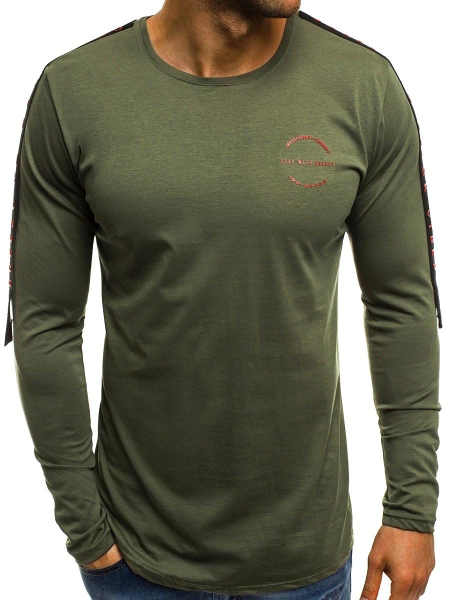 399f770f719 ... OZONEE B 181386 Pánské Tričko S Dlouhým Rukávem Zelené ...