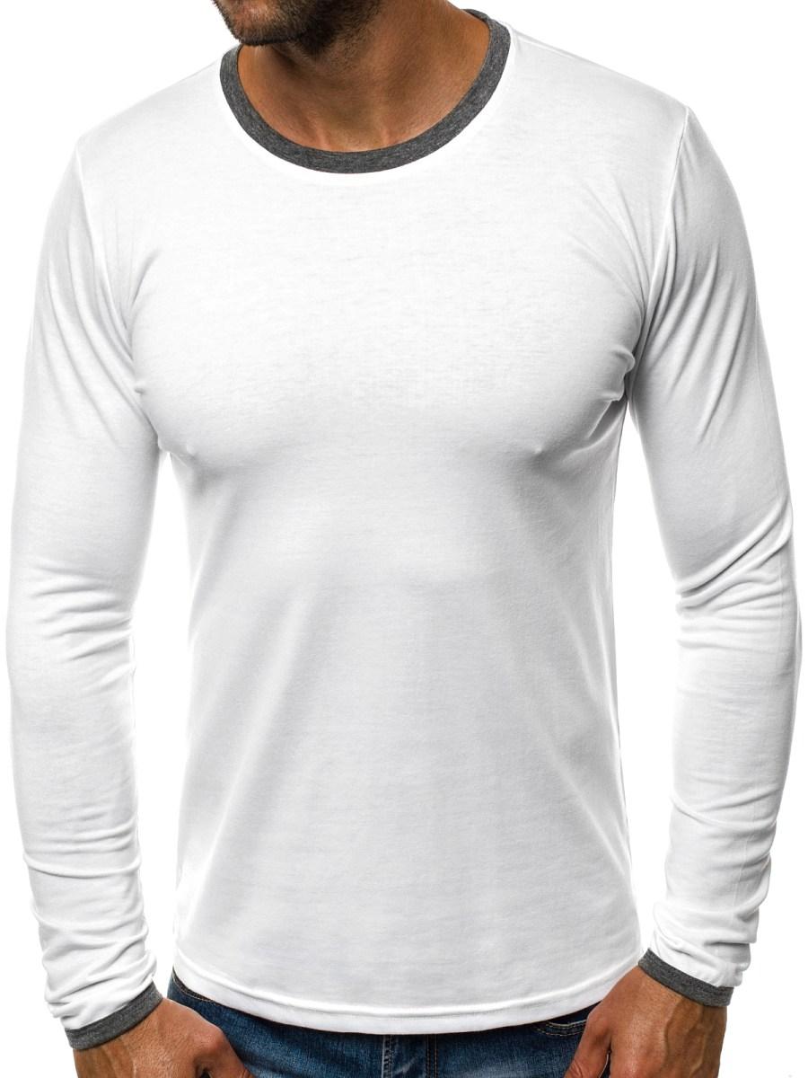 2d7a8c668 OZONEE JS/5002AL Pánské Tričko S Dlouhým Rukávem Bílý | OZONEE.CZ
