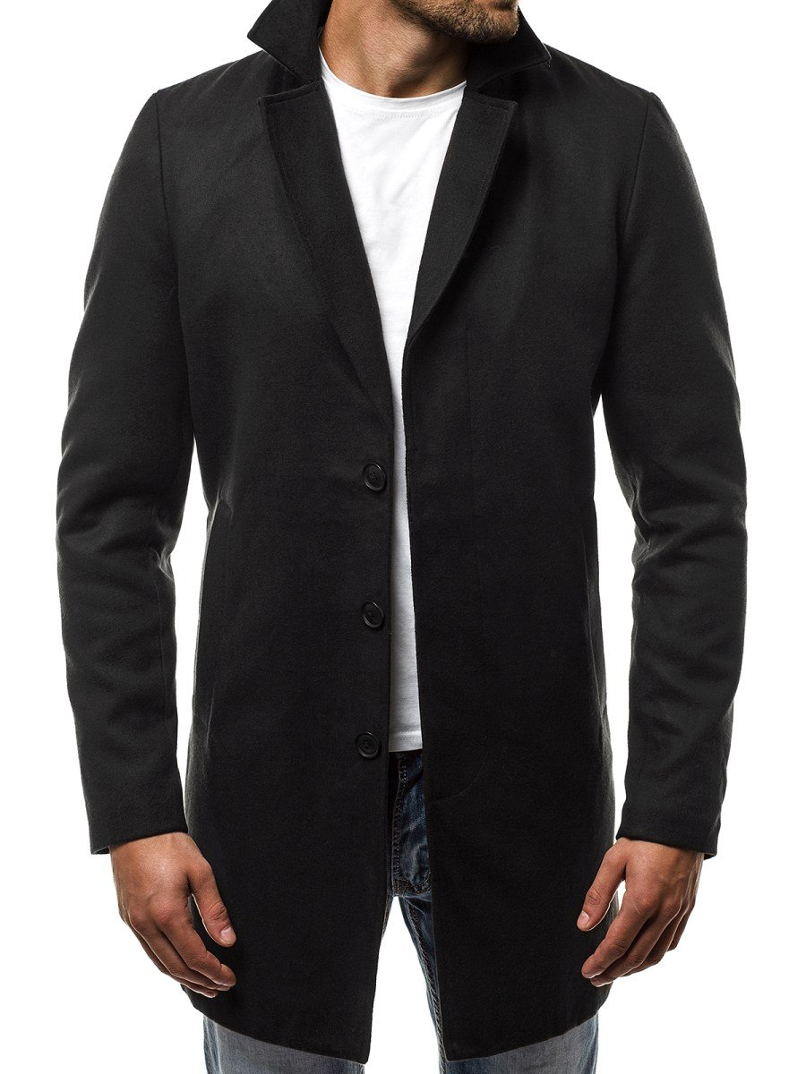 d7c230a1589 ... OZONEE N 5438 Pánský Kabát Černý ...