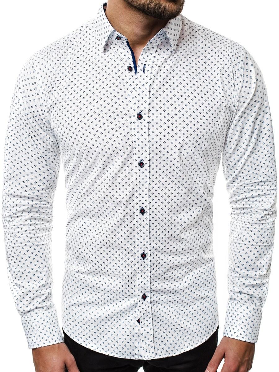 ... OZONEE V K37 Pánská Košile Námořnická Bílá ... 0abe4a781f