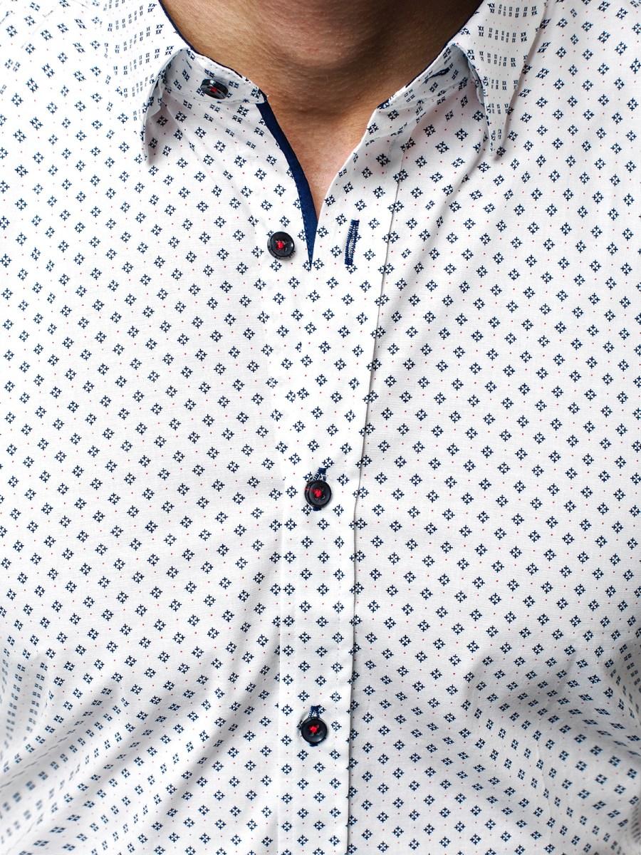 OZONEE V K37 Pánská Košile Námořnická Bílá ... 14313fe826