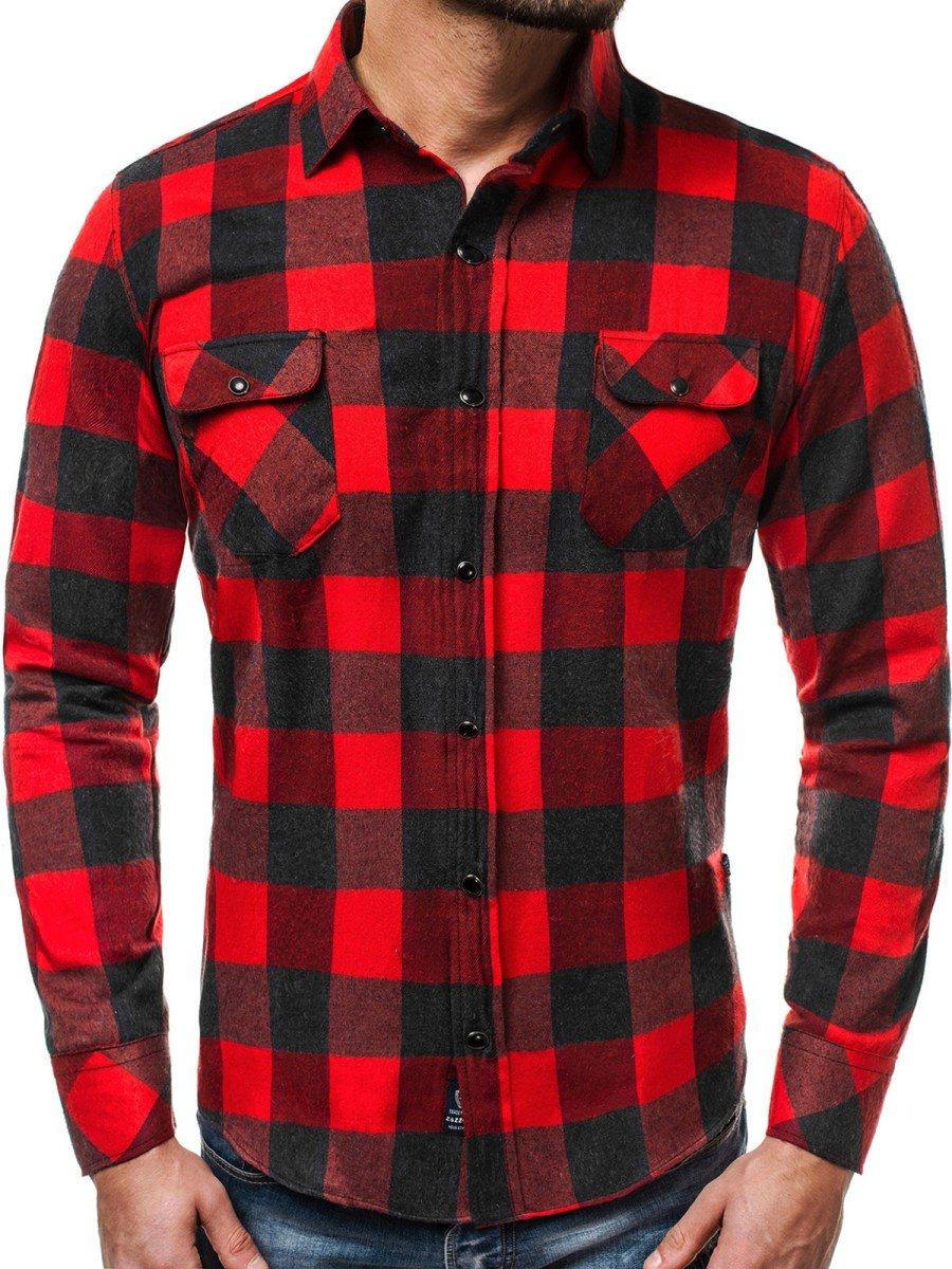 ... OZONEE ZAZ 1318 Pánská Košile Červeno-Černá ... 3ce30ecd36